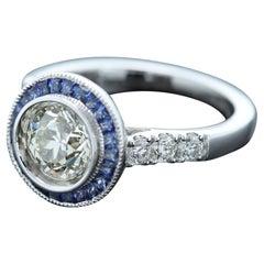 Round Diamond 1.25 Carat & Blue Sapphire Ring Art Deco Style 18 Karat White Gold
