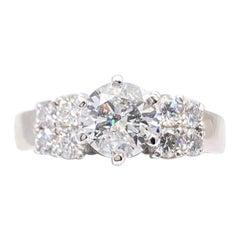 Round Diamond 1.33 Carat Engagement Ring 14 Karat White Gold