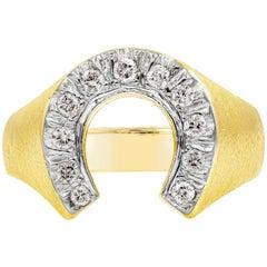 Round Diamond 14 Karat Yellow Gold Horse Shoe Ring