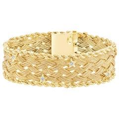 Round Diamond 14 Karat Yellow Gold Woven Bracelet
