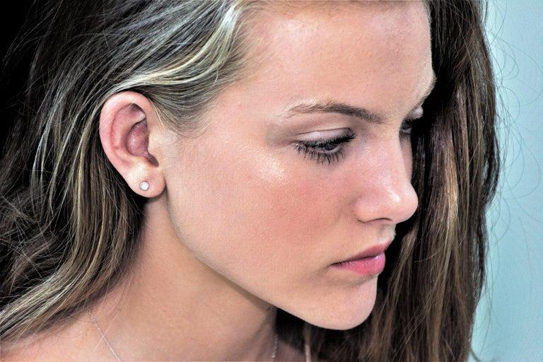 Round Cut Round Diamond 24 point Bezel Set Stud Earrings For Sale