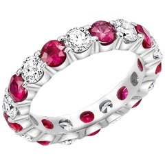 Round Diamond Alternating Round Ruby Eternity Platinum Prong Set Band