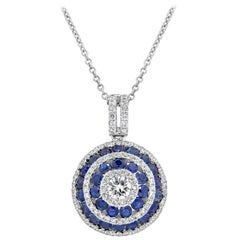 Round Diamond and Blue Sapphire Circle Pendant Necklace