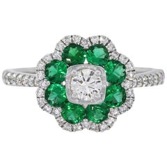 Round Diamond and Emerald Flower Ring