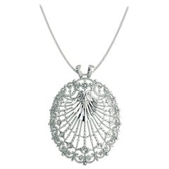 Round Diamond and Gold Cluster Pendent 14K White Gold with Necklace