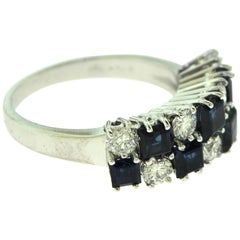 Round Diamond and Princess Cut Sapphire in 18 Karat White Gold 2 Row Ring