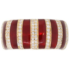 Round Diamond and Red Enamel Striped Wide Band