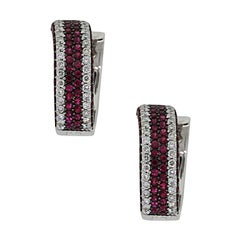 Round Diamond and Ruby Large Huggie Earrings