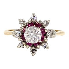 Round Diamond and Ruby Vintage Cluster Ring