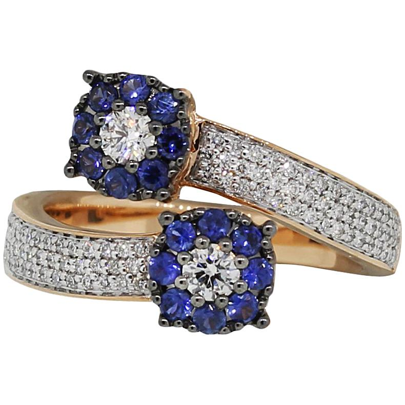 Round Diamond and Sapphire Double Flower Pave Bypass Ring