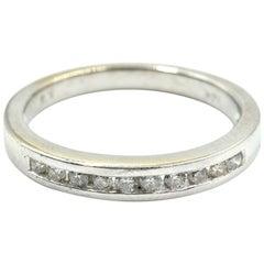 Round Diamond Band 14 Karat White Gold