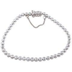 Round Diamond Bezel Set Bracelet 1.00 Carat 14 Karat White Gold