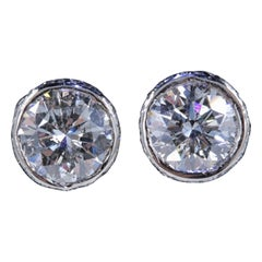 Round Diamond Bezel Set Earrings 5.87 Carat in 14 Karat White Gold