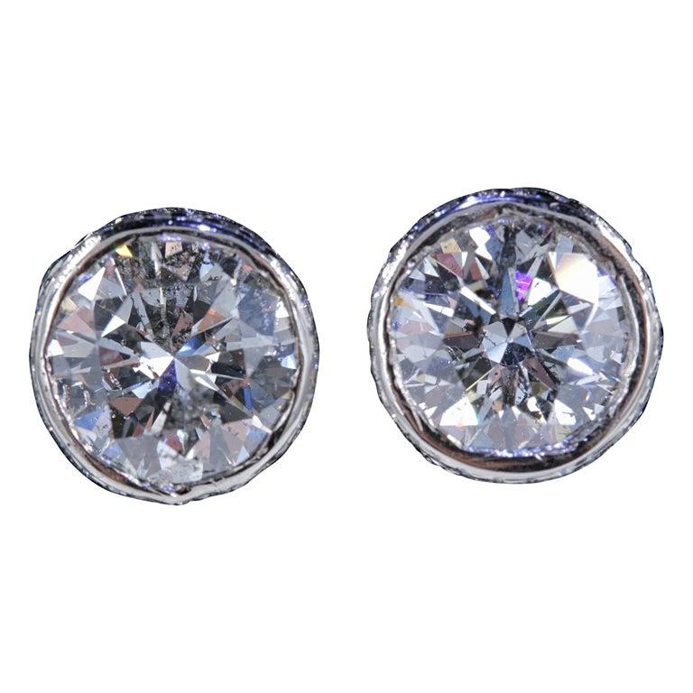 Round Diamond Bezel Set Earrings 5.87 Carat in 14 Karat White Gold For Sale