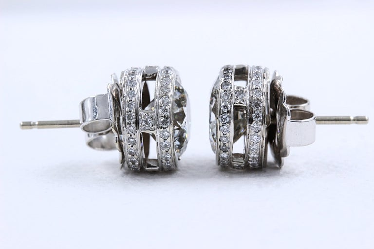 Round Diamond Bezel Set Earrings 5.87 Carat in 14 Karat White Gold For Sale 5