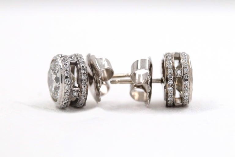 Round Diamond Bezel Set Earrings 5.87 Carat in 14 Karat White Gold For Sale 6