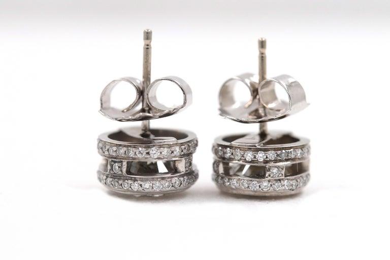 Round Diamond Bezel Set Earrings 5.87 Carat in 14 Karat White Gold For Sale 7
