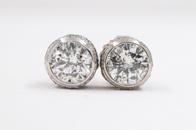 Round Diamond Bezel Set Earrings 5.87 Carat in 14 Karat White Gold For Sale 8