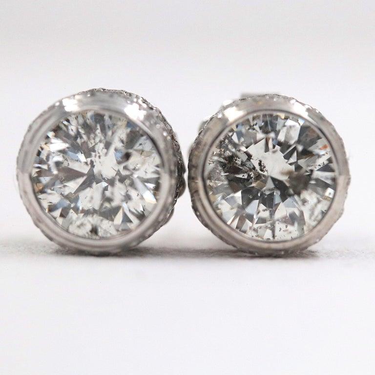 Round Diamond Bezel Set Earrings 5.87 Carat in 14 Karat White Gold For Sale 9