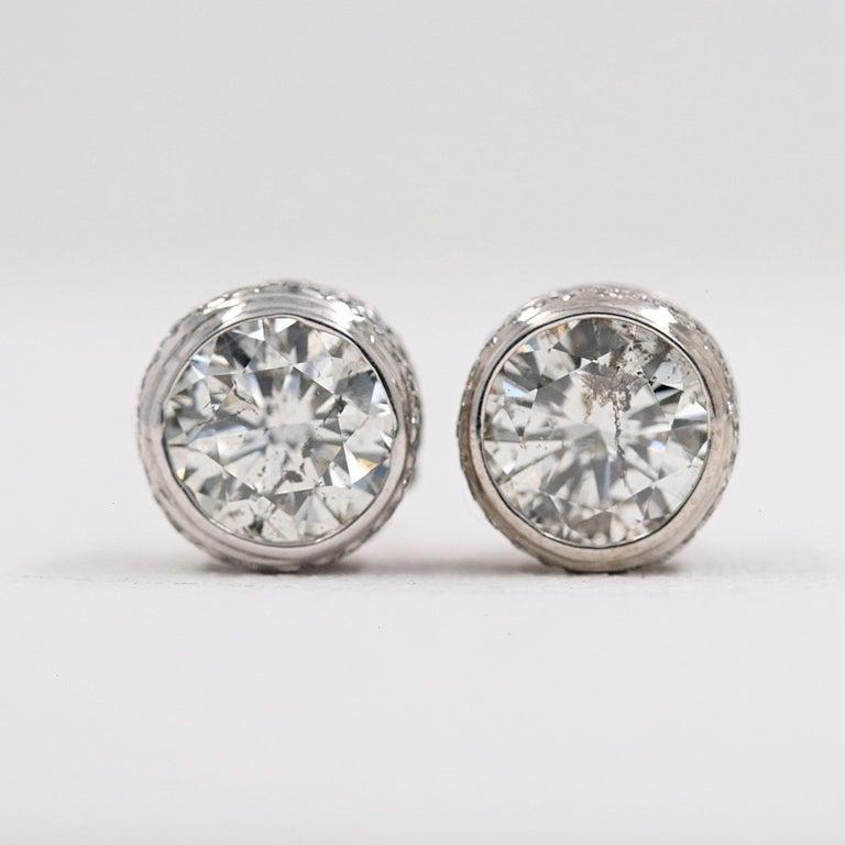 Round Diamond Bezel Set Earrings 5.87 Carat in 14 Karat White Gold For Sale 10