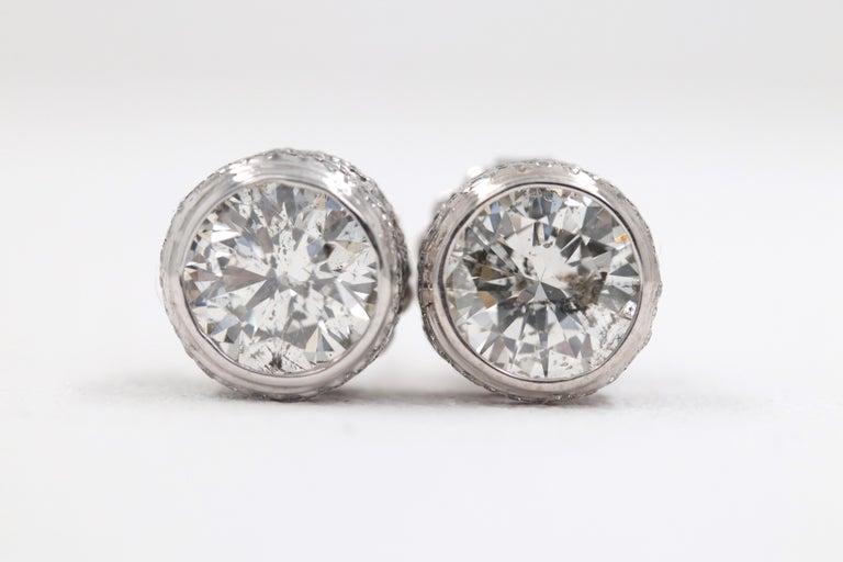 Round Diamond Bezel Set Earrings 5.87 Carat in 14 Karat White Gold For Sale 11