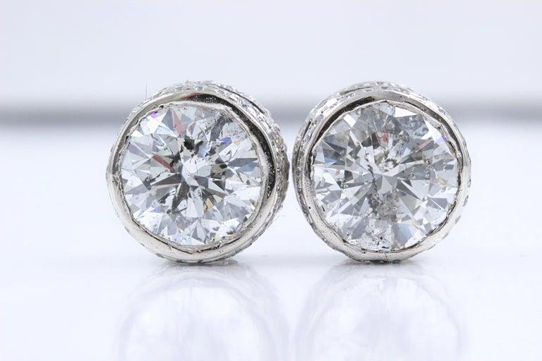 Round Cut Round Diamond Bezel Set Earrings 5.87 Carat in 14 Karat White Gold For Sale