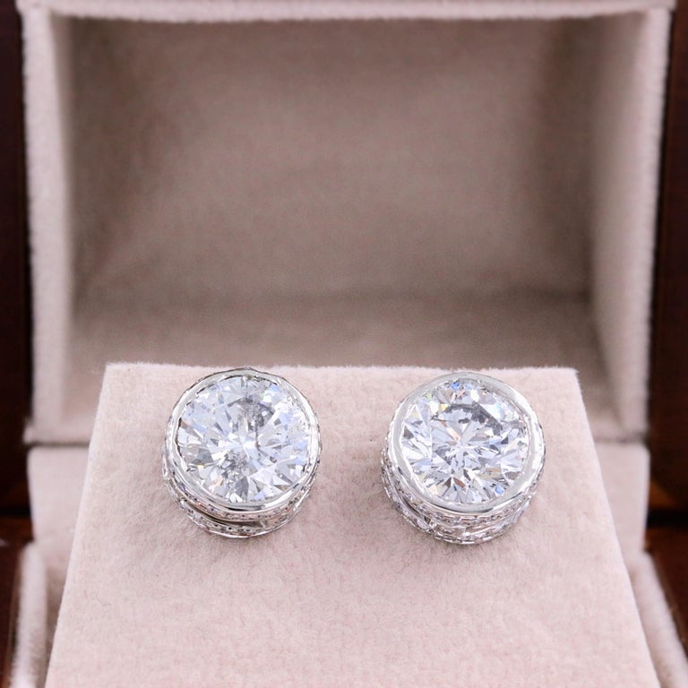 Round Diamond Bezel Set Earrings 5.87 Carat in 14 Karat White Gold In Excellent Condition For Sale In San Diego, CA