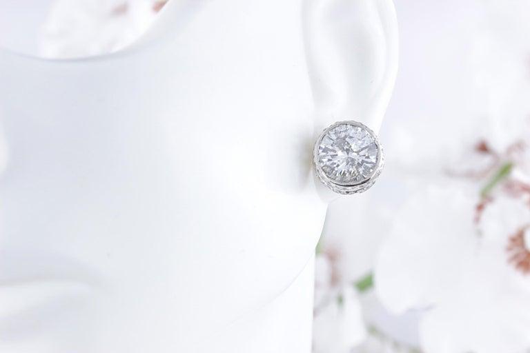 Women's or Men's Round Diamond Bezel Set Earrings 5.87 Carat in 14 Karat White Gold For Sale