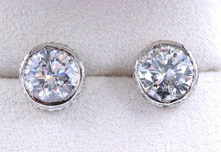 Round Diamond Bezel Set Earrings 5.87 Carat in 14 Karat White Gold For Sale 2