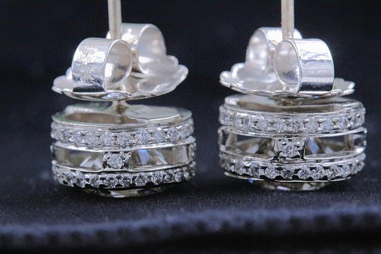 Round Diamond Bezel Set Earrings 5.87 Carat in 14 Karat White Gold For Sale 3