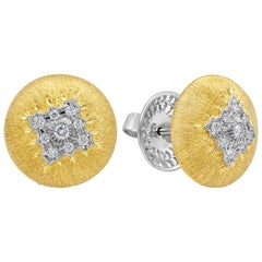 Round Diamond Brushed Yellow Gold Button Stud Earrings