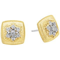Round Diamond Brushed Yellow Gold Cushion Button Stud Earrings