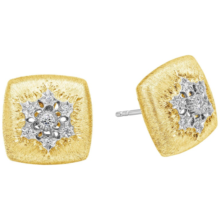 Round Diamond Brushed Yellow Gold Cushion Button Stud Earrings For Sale