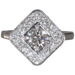 Round Diamond Center Engagement Ring with Square Halo, 1.45 Carat Total Weight