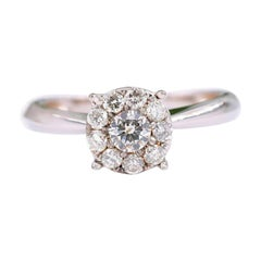 Round Diamond Cluster 14 Karat White Gold Flower Ring 1/2 Carat