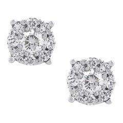 Round Diamond Cluster Earring Studs