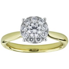 Round Diamond Cluster Engagement Ring in Yellow Gold