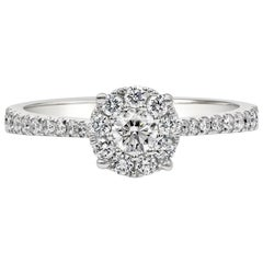 Round Diamond Cluster Halo Engagement Ring