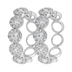 Round Diamond Cluster Hoop Earrings