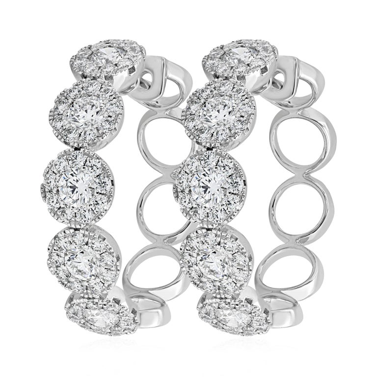 a0644ab7b11a7 Round Diamond Cluster Hoop Earrings