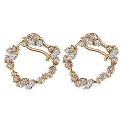 Round Diamond Cluster Hoop Earrings with White and Champagne Diamonds