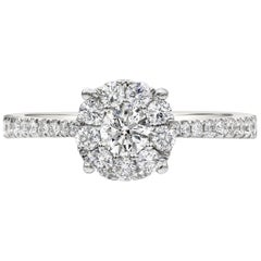 Round Diamond Cluster Illusion Set Engagement Ring
