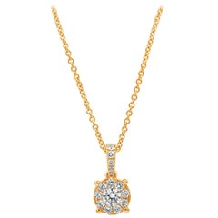Roman Malakov Round Diamond Cluster Pendant Necklace in Rose Gold