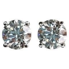 Round Diamond Cocktail Earring Studs 1.52 Carat Diamond
