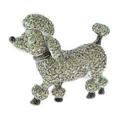 Round Diamond Dog Poodle Brooch, Pin, and Pendant in 18 Karat White Gold