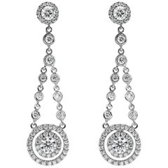 Round Diamond Double Halo Dangle Earrings