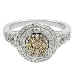 Round Diamond Double Halo Split Shank Champagne Cluster Ring 0.75 Carat