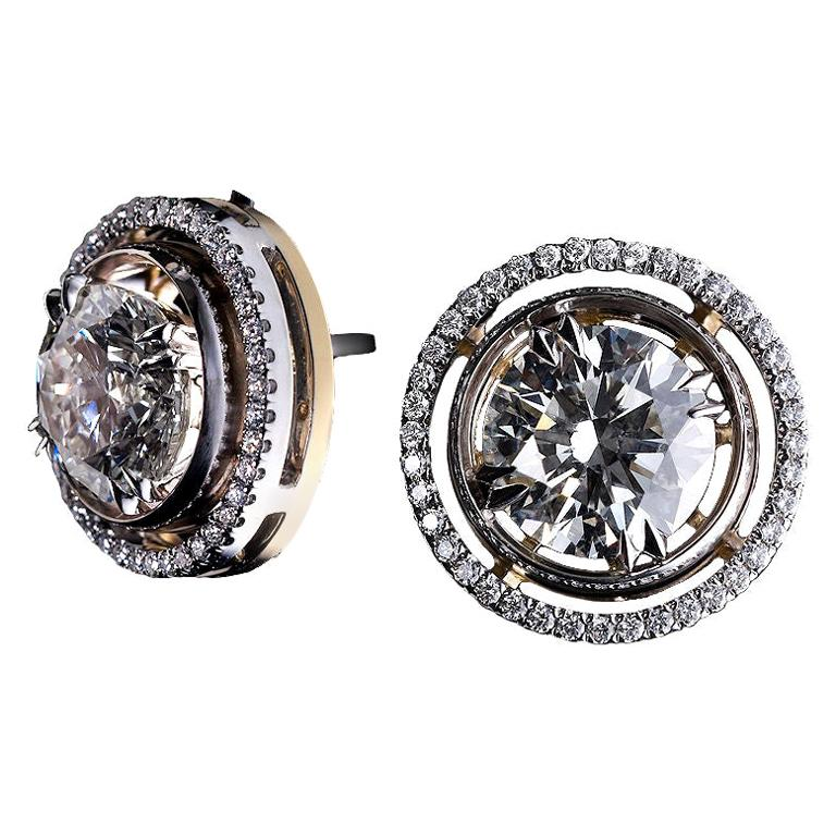 Round Diamond Earring Studs and Diamond Jackets For Sale