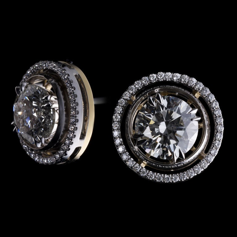 Round Cut Round Diamond Earring Studs and Diamond Jackets For Sale
