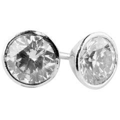 Round Diamond Earrings Pair with Screw Back Studs 2.5 Carat Platinum Si1 Clarity